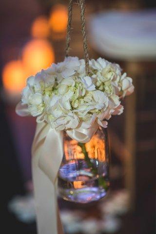 simple-hanging-glass-mason-jar-white-flowers-pia-toscano-american-idol-jimmy-ro-smith-wedding