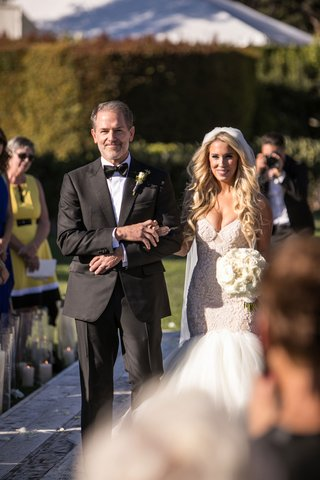 bride-in-galia-lahav-mermaid-wedding-dress-veil-long-blonde-curled-hair-white-bouquet-with-father