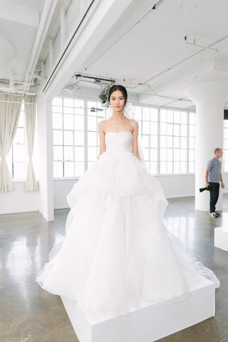 marchesa-bridal-fall-2018-collection-wedding-dress-strapless-ball-gown-layer-ruffle-skirt