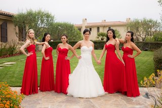 bride-in-liancarlo-bridesmaids-in-strapless-red-dresses-with-sweetheart-neckline