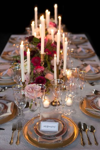 vintage-inspired-tablescape-candles-floral-runner-wedding-styled-shoot-gold-simple-old-world-pink
