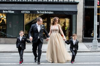 new-family-dad-step-mom-kids-crossing-street-wedding-new-york-city-sons-ring-bearers-kids-suits