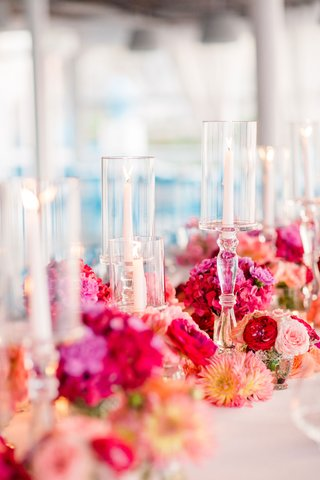 warm-color-scheme-for-wedding-reception-dahlias-peonies-and-hydrangeas-in-magenta-red-peach