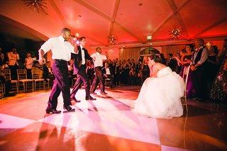 wedding-reception-dance-surprise-absinthe-twin-tap-dancers-with-groom-on-checkerboard-dance-floor