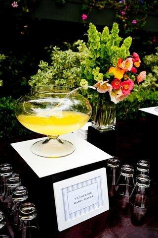 tangerine-basil-water-at-summer-wedding-reception