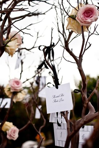 escort-cards-hanging-from-manzanita-tree-branches