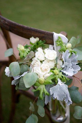 rustic-seaside-coastal-ceremony-floral-decor-foliage-anemone-roses-white-green