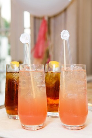 bridal-shower-beverages-drinks-pink-lemonade-and-iced-tea-with-lemon-white-drink-stick-stirrer