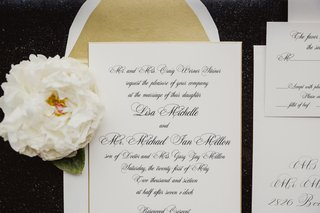 gold-envelope-liner-white-invitation-with-black-calligraphy-and-flower-reply-card-envelope