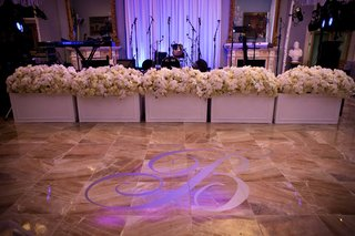 custom-dance-floor-with-silver-b-monogram-and-flower-boxes-with-hydrangea-rose-orchid-next-to-band