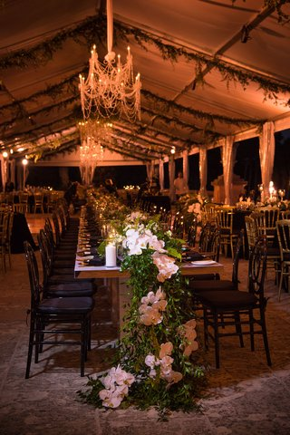 vizcaya-museum-and-gardens-wedding-tented-reception-table-runner-greenery-and-orchids