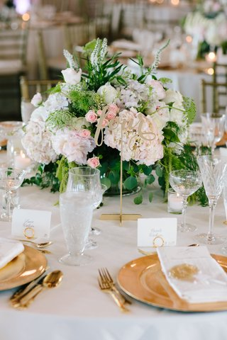 white-wedding-reception-table-linen-gold-charger-plate-green-and-white-centerpiece-pink-rosebuds