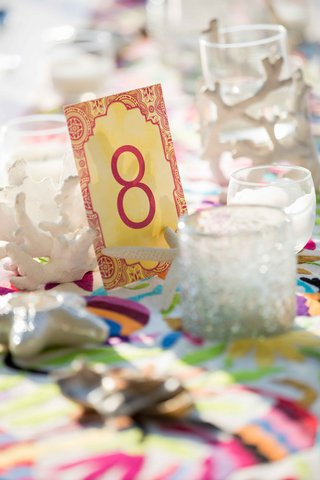 bright-colorful-table-number-card-pink-red-yellow-destination-wedding-styled-shoot-mexico-tropical