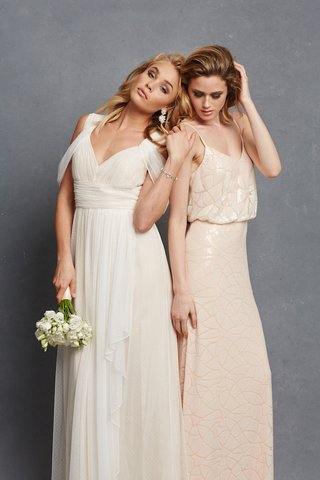 two-bridesmaids-with-white-draped-dress-and-nude-shiny-gown