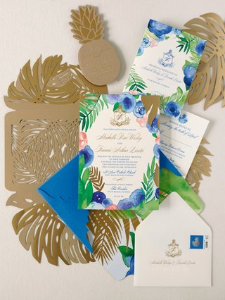 wedding-invitation-suite-blue-pink-green-gold-color-palette-palm-monstera-leaf-gold