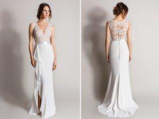 column-wedding-dress-with-lace-v-neck-bodice-and-slit