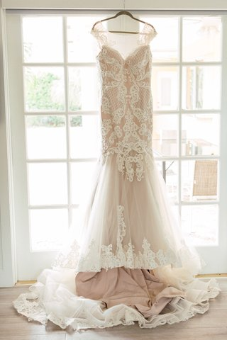 blush-wedding-dress-with-lace-overlay-and-cap-sleeves