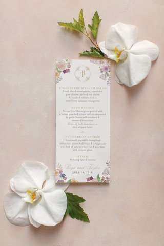 wedding-reception-menu-with-monogram-and-illustrations-of-flowers-in-the-corner