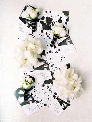 modern-chic-black-and-white-wedding-programs-brush-stroke-and-paint-splatter