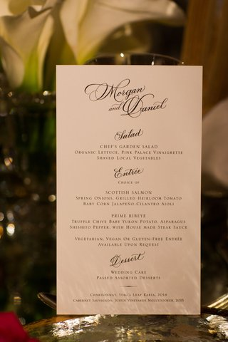 wedding-reception-menu-calligraphy-names-and-salad-entree-dessert-selections-in-block-lettering