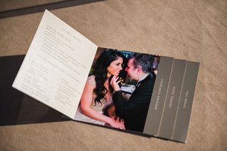 wedding-program-with-different-sections-and-photos-of-the-couple