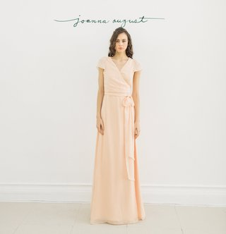 joanna-august-2016-peach-cap-sleeve-v-neck-bridesmaid-dress-with-tie-in-chiffon