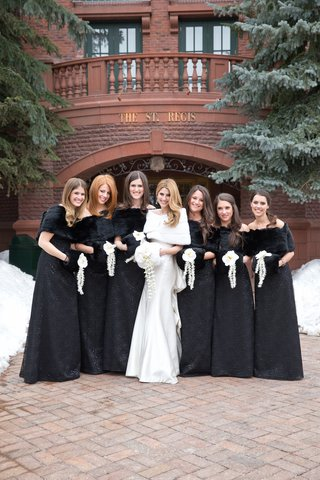women-in-wedding-attire-outside-st-regis-aspen
