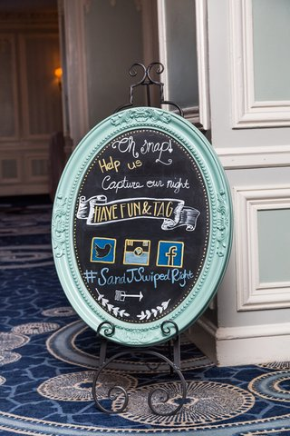 turquoise-framed-social-media-chalkboard-sign-with-wedding-hashtag