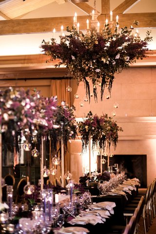 deep-purple-floral-chandelier-with-glass-globes-hanging-down