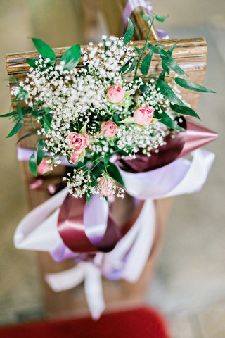 natural-floral-decor-chruch-pews-st-andrews-peterborough-england-british-english-wedding-ribbon-pink
