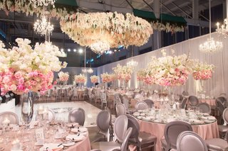 wedding-reception-same-sex-wedding-pink-linen-tall-centerpiece-arrangements-flower-chandelier