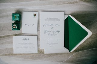 wedding-invitation-suite-emerald-green-envelope-liner-and-calligraphy-script-for-miami-wedding