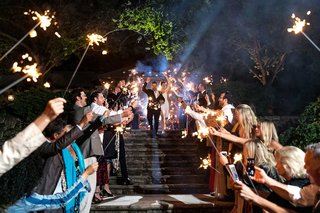 wedding-grand-exit-sparkler-exit-bride-and-groom-coming-down-stairs