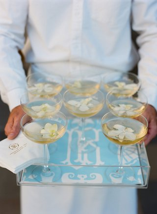 tray-with-monogram-blue-lucite-acrylic-tray-with-coupe-glass-champagne-with-ivory-flowers-server