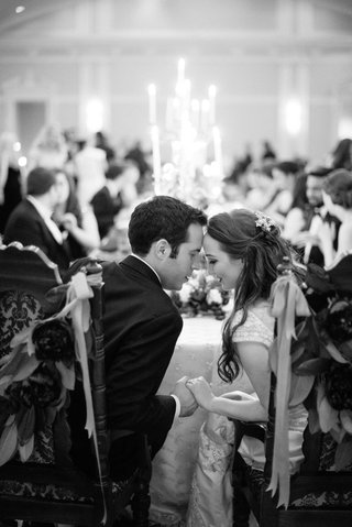 black-white-photo-of-bride-groom-share-moment-during-wedding-reception-florida-foreheads