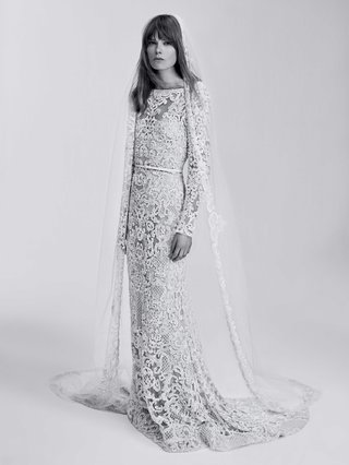 black-and-white-photo-of-elie-saab-bridal-spring-2017-long-wedding-dress-full-embroidery-long-sleeve
