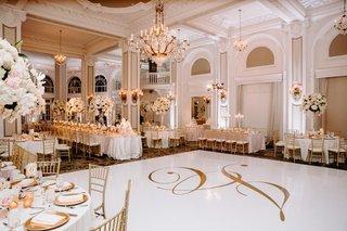 wedding-reception-ballroom-white-gold-dance-floor-chandelier-tall-centerpiece-white-pink-flowers