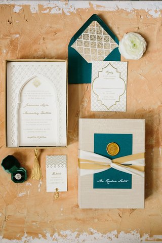 wedding-invitation-suite-gold-wax-seal-ribbon-moroccan-style-destination-wedding-ideas