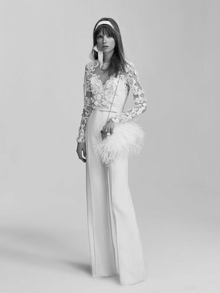 black-and-white-photo-of-elie-saab-bridal-spring-2017-jumpsuit-wedding-outfit-lace-long-sleeves