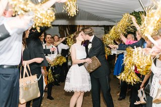 couples-grand-exit-golden-pom-poms-gifts-favors-wedding-southern-after-party-dress-cute-kiss