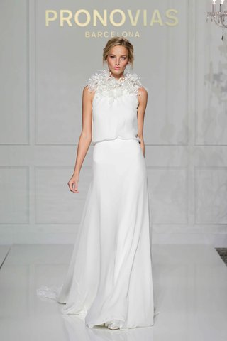 pronovias-2016-wedding-dress-with-blouson-bodice-halter-neckline-and-flowers
