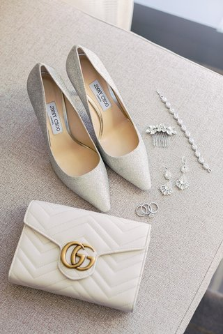jimmy-choo-pumps-shoes-wedding-heels-with-ivory-gold-gucci-clutch-wedding-bracelet-headpiece-earring