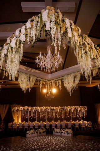 wedding-reception-ballroom-dance-floor-white-flowers-greenery-chandelier-overhead-flower-arrangement