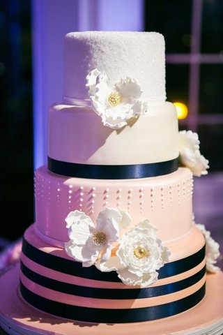 pink-ombre-cake-with-navy-ribbon-gum-paste-flowers-luster-dust-dots-touch-of-gold
