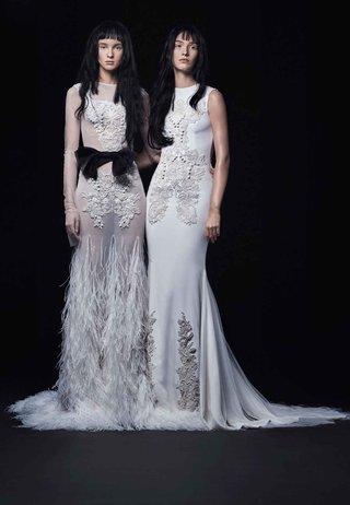 vera-wang-illusion-sheer-long-sleeve-wedding-dress-with-feather-skirt-details