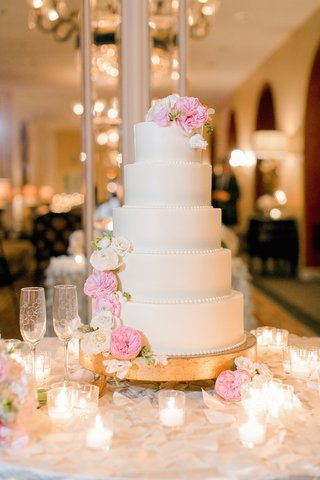 white-wedding-cake-with-beaded-borders-white-pink-garden-roses-on-gold-stand-votive-candles
