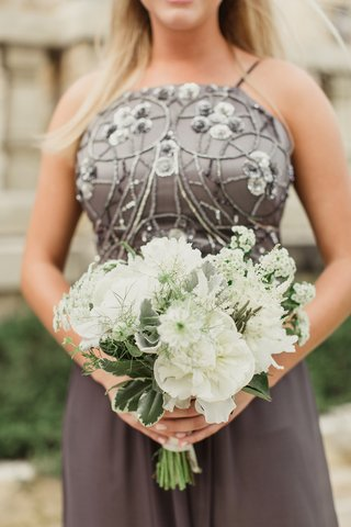 bridesmaid-bouquet-with-white-flowers-and-greenery-grey-beaded-dress