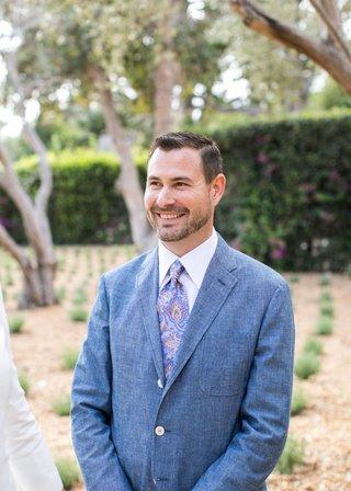 groom-in-blue-wool-jacket-with-paisley-tie-for-santa-barbara-wedding