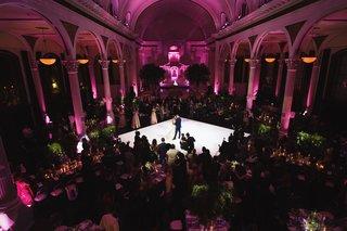 vibiana-wedding-reception-dark-pink-lighting-greenery-first-dance-aerial-view