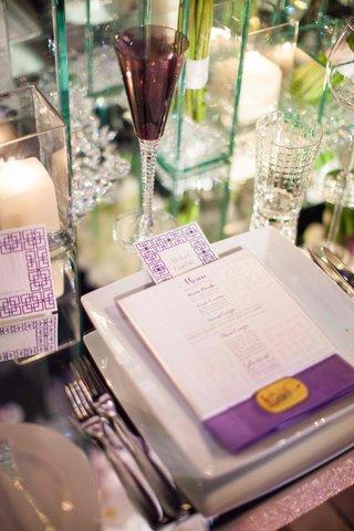 purple-cross-on-menu-card-with-mirror-wedding-table